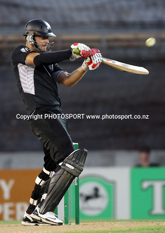 Captain Daniel Vettori batting during his innings of 70.<br />