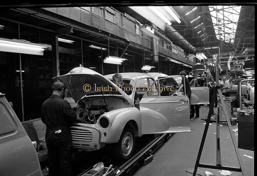 Morris Minors.<br /> 1971.<br /> 29.06.1971.<br /> 06.29.1971.<br /> 29th June 1971.<br /> Series of images shows the Morris Minor from raw assembly to delivery. The cars were assembled by the Brittain Group at Portobello/Ringsend.