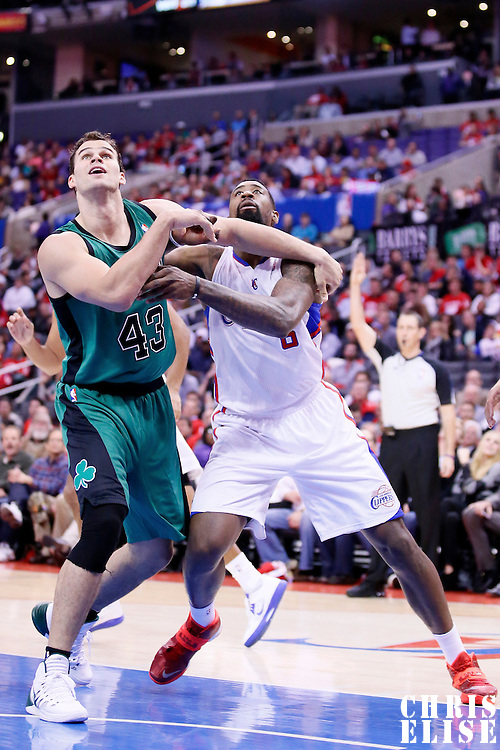 08 January 2014: Boston Celtics power forward Kris Humphries (43) vies for the rebound with Los Angeles Clippers center DeAndre Jordan (6) during the Los Angeles Clippers 111-105 victory over the Boston Celtics at the Staples Center, Los Angeles, California, USA.