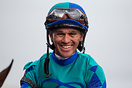 HALLANDALE BEACH, FL - JANUARY 27: Jockey Javier Castellano smiles after winning a race on the Pegasus World Cup Invitational undercard at Gulfstream Park Race Track on January 27, 2018 in Hallandale Beach, Florida. (Photo by Alex Evers/Eclipse Sportswire/Getty Images)