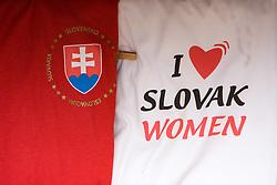 Sign I love Slovak women, on October 10, 2009, Bratislava, Slovakia.  (Photo by Vid Ponikvar / Sportida)