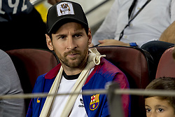 October 24, 2018 - Barcelona, Catalonia, Spain - The injured player of FC Barcelona Leo Messi, observes with his son Thiago, the UEFA Champion Leage match between FC Barcelona and Internazionale Milano at Camp Nou Stadium in Barcelona, Catalonia, Spain on October 24, 2018  (Credit Image: © Miquel Llop/NurPhoto via ZUMA Press)
