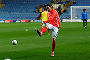 Ryan Williams (7) of Portsmouth shooting at goal during the warm up ahead of the Leasing.com EFL Trophy match between Oxford United and Portsmouth at the Kassam Stadium, Oxford, England on 8 October 2019.