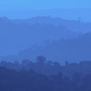 Evening falling over the forests of the Dong Phaya Yen/Khao Yai world heritage site in Thailand.