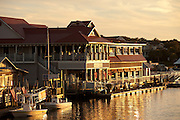 Sunset over the restaurants on Shem Creek in Mt Pleasant, SC.