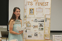 """Students were invited from around the city to display and show their history fair projects at the Lutheran School of Theology located at 1100 E. 55th Street. This event was sponsored by the Hyde Park Historical Society. <br /> <br /> 4149 – Karolina Jekielek gave a presentation on Julius Rosenwald.<br /> <br /> All rights to this photo are owned by Spencer Bibbs of Spencer Bibbs Photography and may only be used in any way shape or form, whole or in part with written permission by the owner of the photo, Spencer Bibbs.<br /> <br /> For all of your photography needs, please contact Spencer Bibbs at 773-895-4744. I can also be reached in the following ways:<br /> <br /> Website – www.spbdigitalconcepts.photoshelter.com<br /> <br /> Text - Text """"Spencer Bibbs"""" to 72727<br /> <br /> Email – spencerbibbsphotography@yahoo.com"""