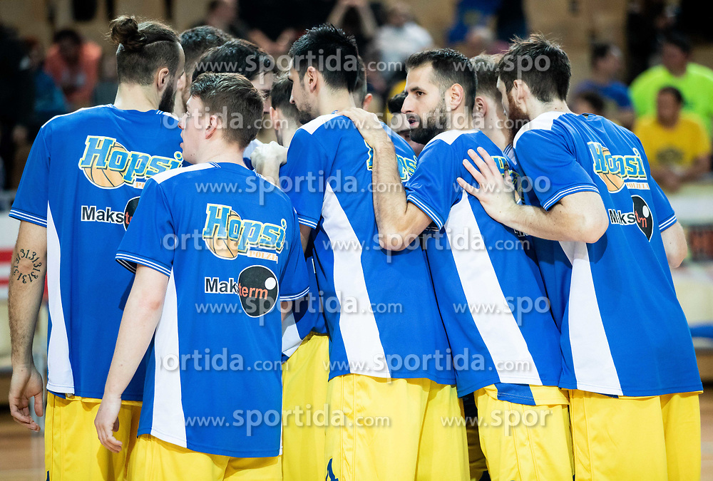 Players of Hopsi Polzela during basketball match between KK Hopsi Polzela and KK Helios Suns in semifinal of Spar Cup 2018/19, on February 16, 2019 in Arena Bonifika, Koper / Capodistria, Slovenia. Photo by Vid Ponikvar / Sportida