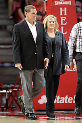 25 February 2015:  Steve Paska and Julie Miller-Paska  during an NCAA MVC (Missouri Valley Conference) men's basketball game between the Southern Illinois Salukis and the Illinois State Redbirds at Redbird Arena in Normal Illinois