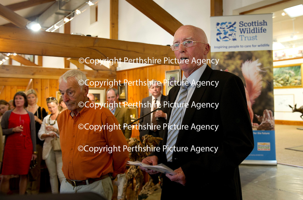 FREE TO USE PHOTOGRAPH....The House of Bruar Helping Scottish Wildlife Trust's Saving Scotland's Red Squirrels Campaign<br /> Pictured Alan Bantick Chairman of SWT speaks to the guests at the House of Bruar alongside sculpter Eddie Hallam whose work is sold through the Gallery at House of Bruar<br /> For further info see press release from Greg Tinker at Scottish Wildlife Trust<br /> Picture by Graeme Hart.<br /> Copyright Perthshire Picture Agency<br /> Tel: 01738 623350  Mobile: 07990 594431