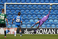 James Bransgrove of Colchester United can't save the goal of Calvin Andrew of Rochdale (not pictured) to make the scoreline 2-1 during the Sky Bet League 1 match between Colchester United and Rochdale at the Weston Homes Community Stadium, Colchester<br /> Picture by Richard Blaxall/Focus Images Ltd +44 7853 364624<br /> 08/05/2016