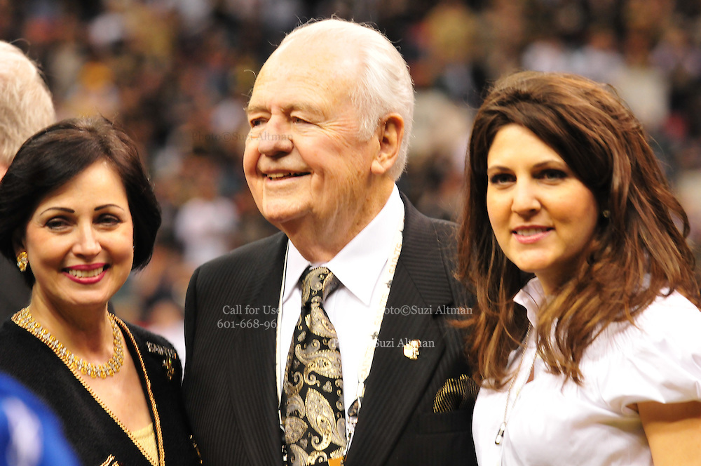 New Orleans Saints owner Tom Benson celebrates with wife Gayle and granddaughter Rita Benson Leblanc. Photo©Suzi Altman
