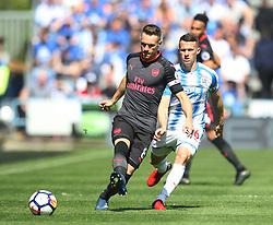 Aaron Ramsey of Arsenal (L) and Jonathan Hogg of Huddersfield Town Arsenal - Mandatory by-line: Jack Phillips/JMP - 13/05/2018 - FOOTBALL - The John Smith's Stadium - Huddersfield, England - Huddersfield Town v Arsenal - English Premier League