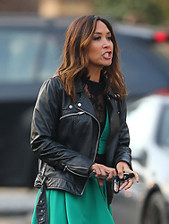 (EXCLUSIVE PICTURES) Myleene Klass wearing a black leather bikers jacket, green dress with black lace and a pair of knee high boots with 6-inch heels out and about in London, UK. 03/11/2017<br /> BYLINE MUST READ : JAMESY/GOTCHA IMAGES<br /> <br /> Copyright by © Gotcha Images Ltd. All rights reserved.<br /> Usage of this image is conditional upon the acceptance <br /> of Gotcha Images Ltd, terms and conditions available at<br /> www.gotchaimages.com