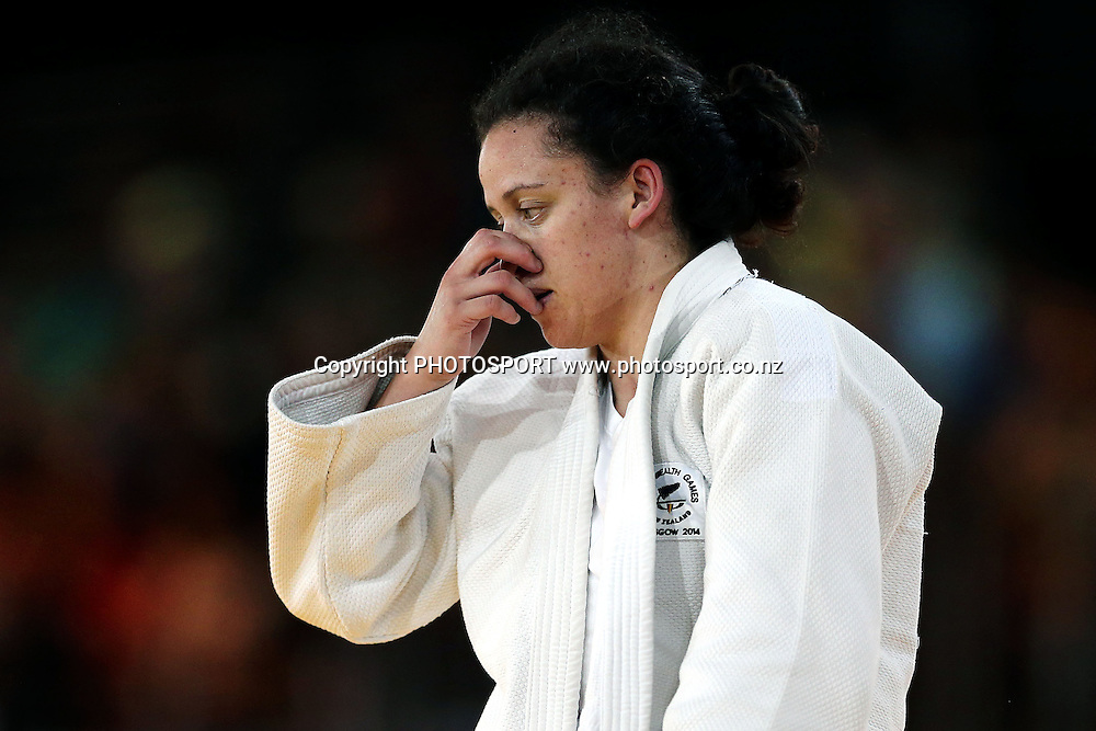 Darnica Manuel of New Zealand reacts during the Womens -57kg Judo Quarter-finals against Stephanie Inglis of Scotland on Day 1. Glasgow 2014 Commonwealth Games. Scottish Exhibition Conference Centre, Glasgow, Scotland. Thursday 24 July 2014. Photo: Anthony Au-Yeung / photosport.co.nz