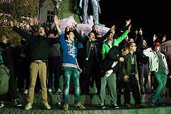 Green Dragons, ultras supporters of Ljubljana's football, basketball and ice-hockey clubs Olimpija celebrating 25th anniversary in City Centre, on October 17, 2013 at Preseren Square, Ljubljana, Slovenia. (Photo by Vid Ponikvar / Sportida)
