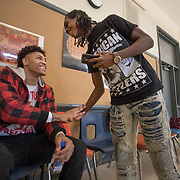 WASHINGTON, DC - MAR23: Washington Wizard Kelly Oubre, thanks senior Tyrese Rowe, after listening to a song Tyrese wrote, during Oubre's visit to the Duke Ellington School of the Arts, March 23, 2017. (Photo by Evelyn Hockstein/For The Washington Post)