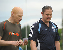 Westport Boys U14 Hurling manager Davy Kettrick with Conall Sadlier.<br />Pic Conor McKeown