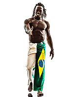 one Brazilian black man walking saluting handshake on white background