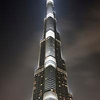 United Arab Emirates, Dubai, Burj Khalifa, the world's tallest building rises above city center, at night