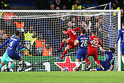 Bayern Munich forward Serge Gnabry scores a goal to make it 0-1 and celebrates during the Champions League match between Chelsea and Bayern Munich at Stamford Bridge, London, England on 25 February 2020.