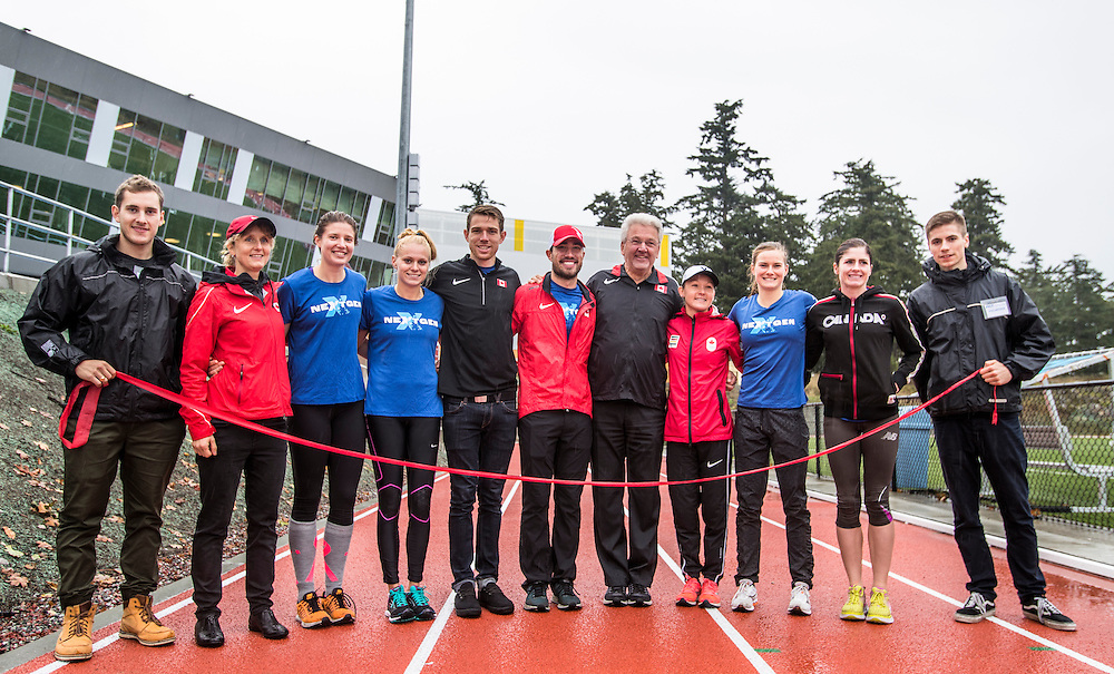Members of the community gather at the Pacific Institute for Sports Excellence to celebrate the opening of a four lane world class athletic track in Victoria, British Columbia Canada on October 18, 2016.