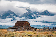 The barn at John Moulton Homestead, at the corner of Mormon Row and Antelope Flats Road, in the valley of Jackson Hole, Grand Teton National Park, Wyoming, USA.