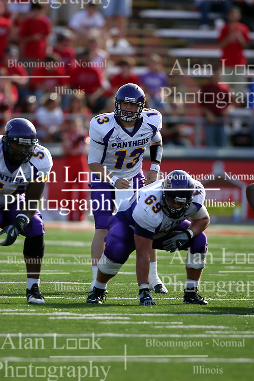 29 September 2007:  Patrick Grace sees some action as quarterback behind center Barrett Anderson after starter Eric Sanders suffers an injury. In action between the Northern Iowa Panthers and the Illinois State Redbirds, the Panthers chewed up the Redbirds by a score of 23 - 13. Game action commenced at Hancock Stadium on the campus of Illinois State University in Normal Illinois..
