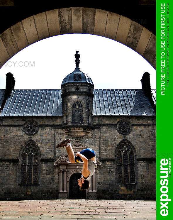 "Pic Free For Use For First Use Only..John Hall leaps in an Edinburgh court yard to launch the new ""Urbathon"" event to be held in Scotlands capital...HUNDREDS of runners will have the chance to jump, climb and crawl their way through the capital in the first  10 kilometre race of its kind to take place in Scotland which involves obstacle course challenges. ..Picture Michael Hughes/Maverick Exposure 2/8/09..Contact Jen Smith @ Chest Heart and Stroke Scotland for more details Tel. 07824997100."