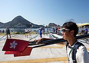 Rio de Janeiro. BRAZIL. &ldquo;Boating Area&rdquo; Boat washing,  2016 Olympic Rowing Regatta. Lagoa Stadium,<br /> Copacabana,  &ldquo;Olympic Summer Games&rdquo;<br /> Rodrigo de Freitas Lagoon, Lagoa. Friday  05/08/2016<br /> [Mandatory Credit; Peter SPURRIER/Intersport Images]