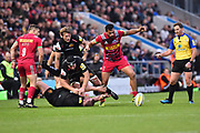 Alofa Alofa of Harlequins looks on as the ball comes free on the ground during the Aviva Premiership match between Exeter Chiefs and Harlequins at Sandy Park, Exeter, United Kingdom on 19 November 2017. Photo by Graham Hunt.