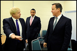 The Mayor Boris Johnson with The Prime Minister David Cameron in the green room before going on stage at a rally in Orpington to support Boris's Mayoral Campaign, during his Mayoral campaign,  Tuesday April 17, 2012. Photo By Andrew Parsons/i-Images
