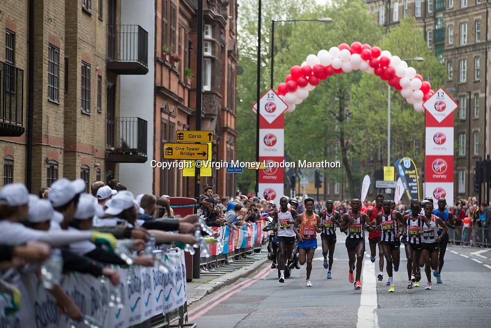 The Men&rsquo;s elite Race approaches Tower Bridge. The Virgin Money London Marathon, 23rd April 2017.<br /> <br /> Photo: Jed Leicester for Virgin Money London Marathon<br /> <br /> For further information: media@londonmarathonevents.co.uk
