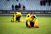 G&Ouml;TEBORG SVERIGE - 2017-11-11: Mj&auml;llby AIF spelare deppar efter f&ouml;rlusten under kvalmatchen till Superettan mellan &Ouml;rgryte IS och Mj&auml;llby AIF p&aring; Gamla Ullevi den 11 november i G&ouml;teborg, Sverige.<br /> Foto: Jonas Gustafsson/Ombrello<br /> ***BETALBILD***