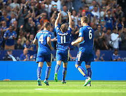 Marc Albrighton of Leicester City (C) celebrates scoring his sides fourth goal  - Mandatory byline: Jack Phillips/JMP - 07966386802 - 08/08/2015 - SPORT - FOOTBALL - Leicester - King Power Stadium - Leicester City v Sunderland - Barclays Premier League
