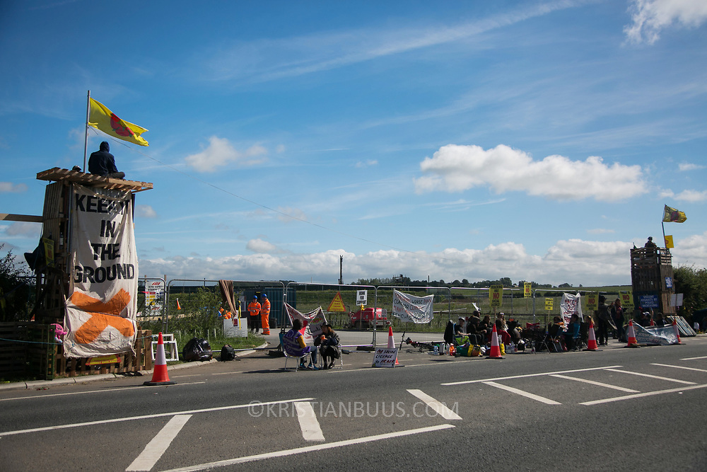 By the gates to Quadrilla's fracking site in New Preston Road, Lancashire. Lancashire community family launch event of the Roling Resistance 30 day campaign.