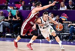 Janis Blums of Latvia vs Klemen Prepelic of Slovenia during basketball match between National Teams of Slovenia and Latvia at Day 13 in Round of 16 of the FIBA EuroBasket 2017 at Sinan Erdem Dome in Istanbul, Turkey on September 12, 2017. Photo by Vid Ponikvar / Sportida
