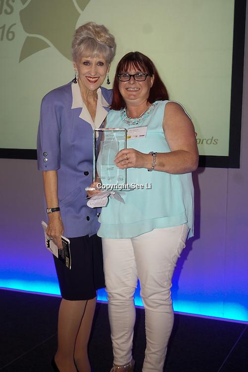 London,England,UK, 4th Aug 2016 : TV actress Anita Dobson present the Hero Cat awards to Tink at the National Cat Awards 2016 at Savoy Hotel, London,UK. Photo by See Li