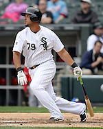 CHICAGO - APRIL 20:  Jose Abreu #79 of the Chicago White Sox bats against the Los Angeles Angels of Anaheim on April 20, 2016 at U.S. Cellular Field in Chicago, Illinois.  The White Sox defeated the Angels 2-1.  (Photo by Ron Vesely)   Subject: Jose Abreu