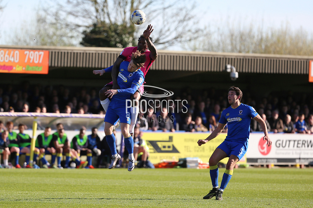 AFC Wimbledon midfielder Jake Reeves (8) battles for possession with Southend United striker Nile Ranger (50) during the EFL Sky Bet League 1 match between AFC Wimbledon and Southend United at the Cherry Red Records Stadium, Kingston, England on 25 March 2017. Photo by Matthew Redman.