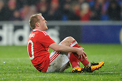 Jonathan Williams of Wales goes down injured - Mandatory by-line: Dougie Allward/JMP - Mobile: 07966 386802 - 24/03/2016 - FOOTBALL - Cardiff City Stadium - Cardiff, Wales - Wales v Northern Ireland - Vauxhall International Friendly