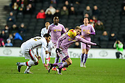 Readings Matej Vydra takes a tackle during the Sky Bet Championship match between Milton Keynes Dons and Reading at stadium:mk, Milton Keynes, England on 16 January 2016. Photo by Dennis Goodwin.