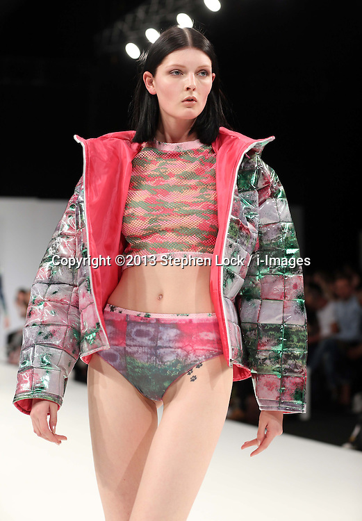 Designs by student  Rose Blair  from Ravensbourne College at Graduate Fashion Week in London , Monday, 3rd June 2013<br /> Picture by:  Stephen Lock / i-Images