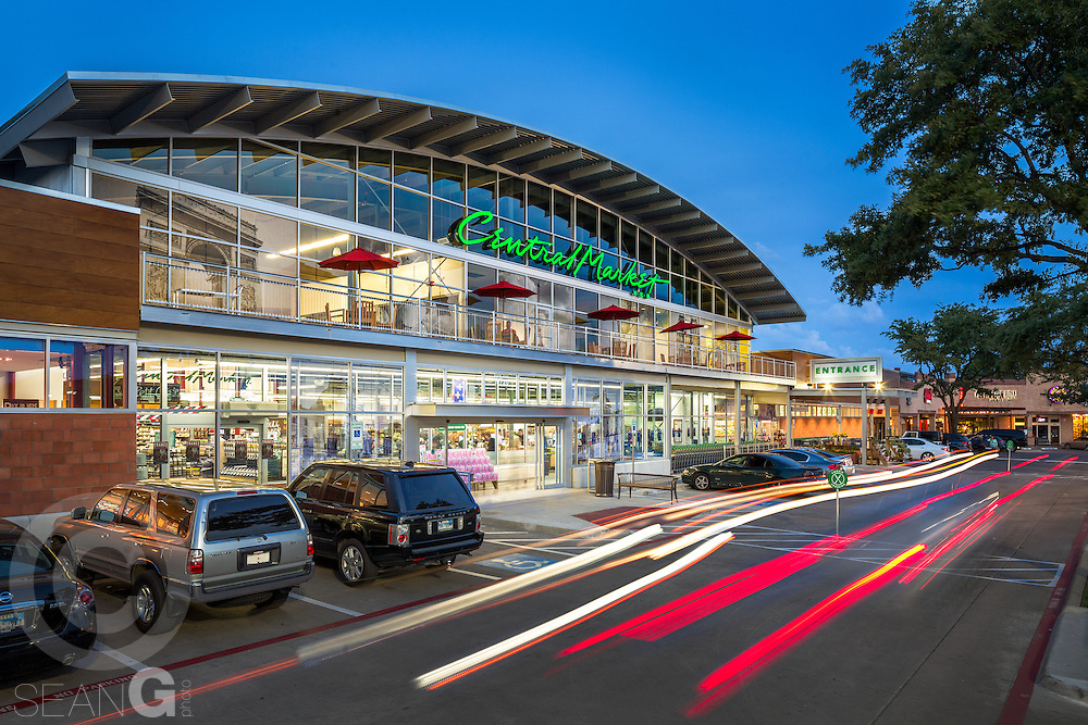 Central Market exterior photo in Dallas Texas at dusk