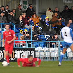 TELFORD COPYRIGHT MIKE SHERIDAN  Guiseley fans during the Vanarama Conference North fixture between Guiseley and AFC Telford United at Nethermoor Park on Saturday, February 8, 2020.<br /> <br /> Picture credit: Mike Sheridan/Ultrapress<br /> <br /> MS201920-046