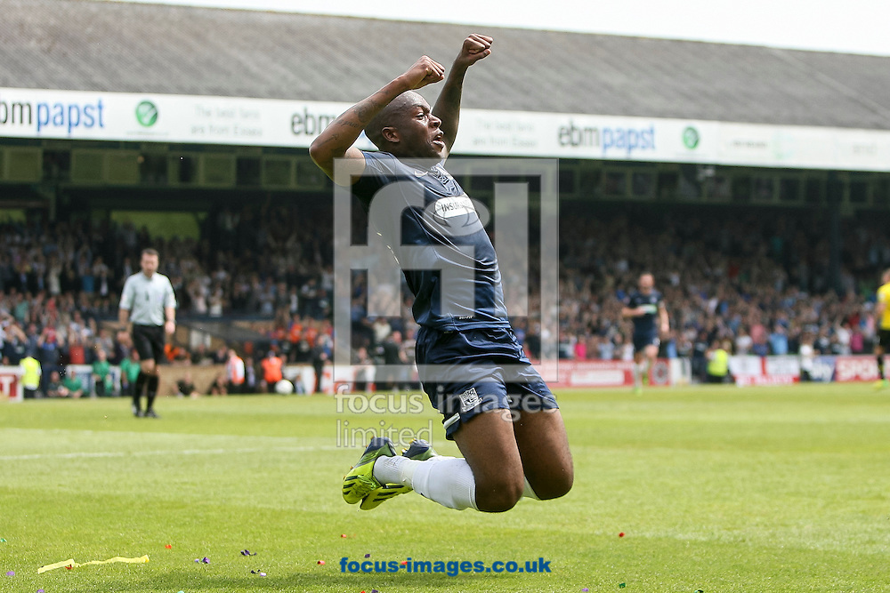Anthony Straker of Southend United celebrates after scoring his side's second goal during the Sky Bet League 2 semi final play off second leg at Roots Hall, Southend<br /> Picture by Daniel Chesterton/Focus Images Ltd +44 7966 018899<br /> 17/05/2014
