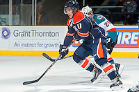 KELOWNA, CANADA -FEBRUARY 1: Matt Bellerive C #11 of the Kamloops Blazers skates against the Kelowna Rockets on February 1, 2014 at Prospera Place in Kelowna, British Columbia, Canada.   (Photo by Marissa Baecker/Getty Images)  *** Local Caption *** Matt Bellerive;