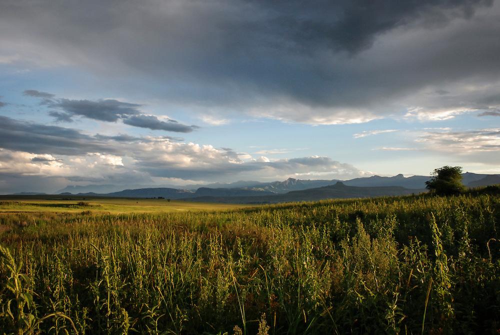 Sunset over the landscape, KwaZulu-Natal province of South Africa.