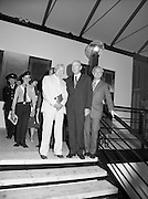 24/08/1984<br /> 08/24/1984<br /> 24 August 1984<br /> Opening of ROSC '84 at the Guinness Store House, Dublin. At the event were (l-r): Michael Scott, architect; President Patrick Hillery and Mr Pat Murphy, ROSC Chairman.