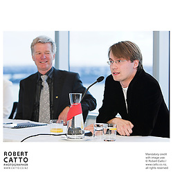 Peter Walls;Pietari Inkinen at the Press conference announcing Pietari Inkinen as the NZSO's Music Director at Minter Ellison, The Lumley Centre, Auckland