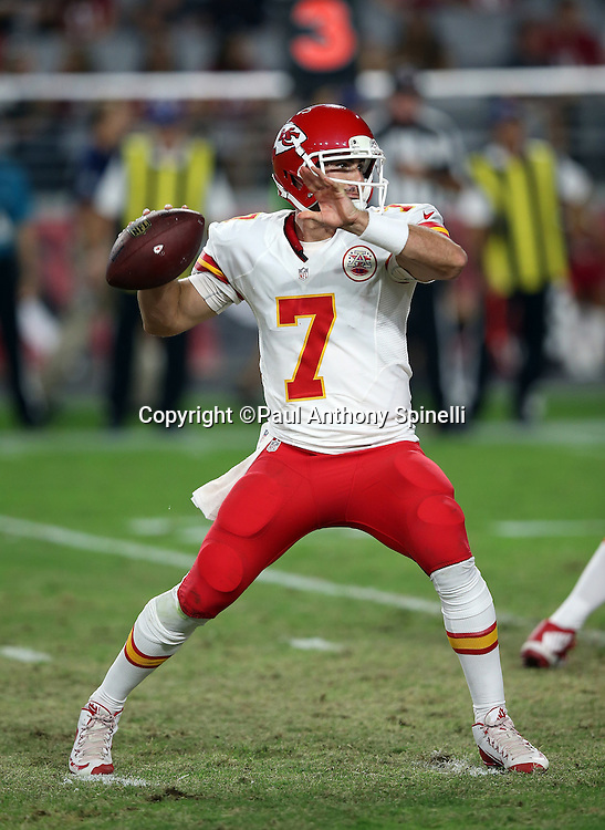Kansas City Chiefs quarterback Aaron Murray (7) throws a fourth quarter pass during the 2015 NFL preseason football game against the Arizona Cardinals on Saturday, Aug. 15, 2015 in Glendale, Ariz. The Chiefs won the game 34-19. (©Paul Anthony Spinelli)